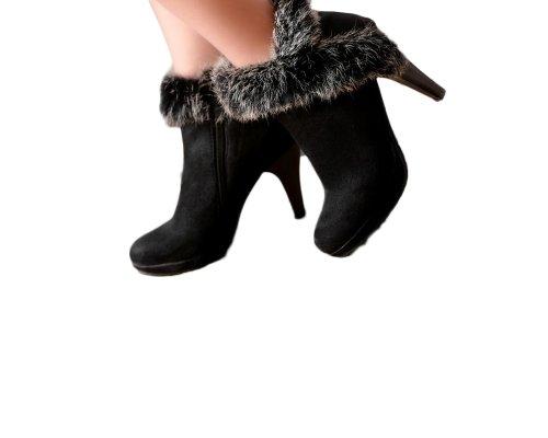 Charm Foot Fashion Mujeres Platform Botines De Tacón Alto Botas Occidentales Negro