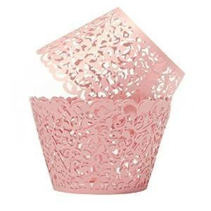 Cupcake Wrappers Filigree Artistic Bake Cake Paper Cups Little Vine Lace Laser Cut Liner Baking Cup Muffin Case Trays for Wedding Party Birthday Decoration-Pack of 100