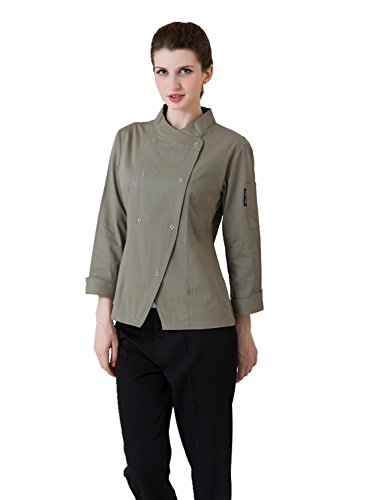 JXH Chef Uniforms women's long sleeve chef coat olive, - Coat Olive Chef