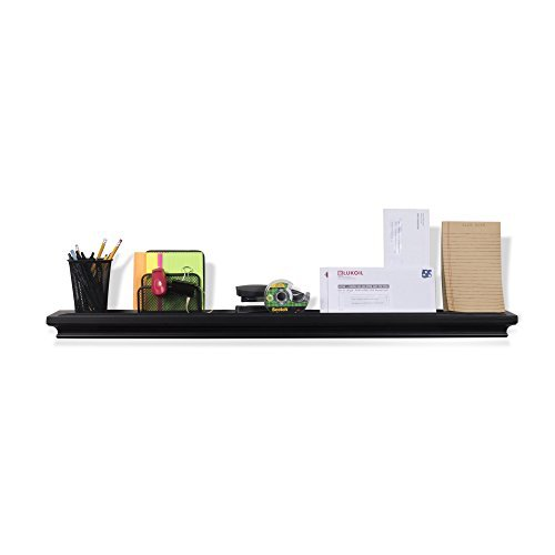 Decoración de oficina pared visualización Ledge flotante estante madera maciza negro 101.6 cm