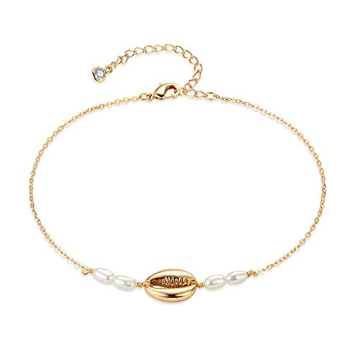 (Mevecco Gold Dainty Natural Seashell Anklet for Women,14K Gold Plated Beach Boho Cute Cultured Pearl Foot Chain Natural Cowire Ankle Bracelet for Teen)