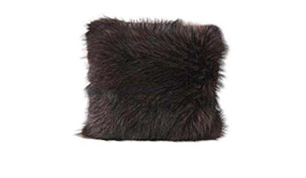 Black dyed raccoon decorative cushions 15.5 x 15.5 inches 15.5 X 15.5 inch Black Dyed Raccoon Decorative Pillows
