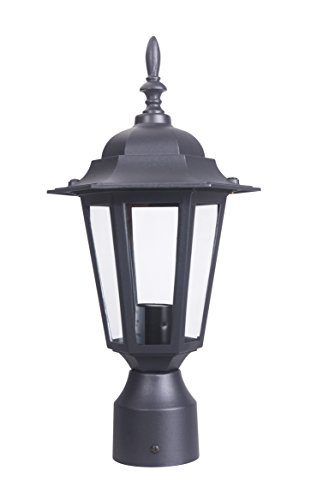 (LIT-PaTH Outdoor Post Light Pole Lantern Lighting Fixture with One E26 Base Max 60W, Aluminum Housing Plus Glass, Matte Black Finish (Black) )