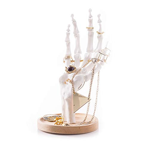 Suck UK Skeleton Jewelry Organizer | Halloween Decorations | Unique Gifts | Earrings Necklace Bracelet & Ring Display Stand |, White -