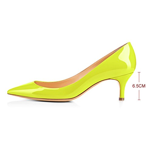 yellow 5cm Pointed Toe Classic Pumps heel Dress Mid 6 Z for Women Fzxqw7