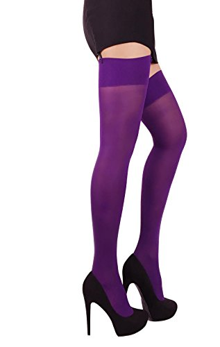 Thigh High Opaque Stockings (Violet, XL)