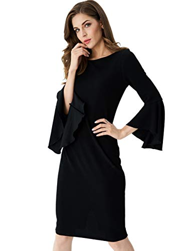 Aphratti Women's Ruffle Bell Sleeves Bodycon Sheath Party Cocktail Dress Black Medium