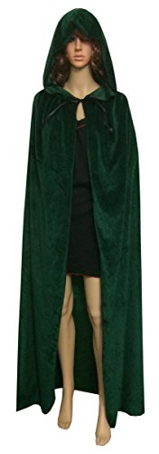 ECITY Unisex Adult Women/Man Hooded Cloak Role Play Halloween Costume Cosplay Christmas Cape Party Costume(Large (59 inch=150cm ), Green) (Male Halloween Costumes Party City)