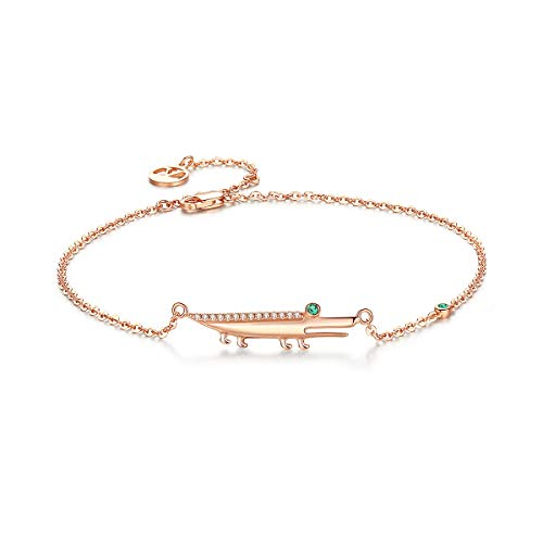 Ankle Bracelets for Women Silver Anklets Rose Gold 925 Sterling Beach Diamond Charms Foot Jewelry Handmade Girls Adjustable Link Fish Cross White Blue Crystal Crocodile Love Heart Key Anklets w/Box