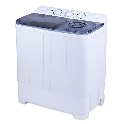 BOCCA Electric Portable Washing Machine With Pump,Mini Twin Tub Washer and Dryer Combo 12Lbs Washing Capacity and 9Lbs Spin Capacity