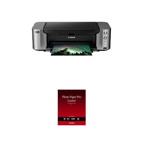 Canon PIXMA Pro-100 Wireless Color Professional Inkjet Printer with Airprint and Mobile Device Printing and Canon Luster Photo Paper Letter, 50 Sheets (LU-101 LTR) Bundle by Canon