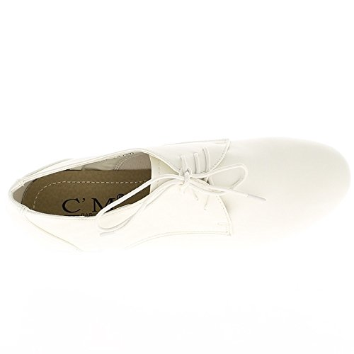 Lacci e tacco 2 cm di Richelieux bianco lucido