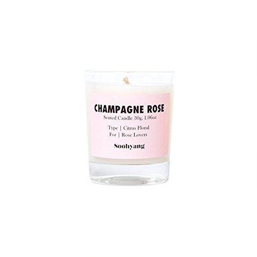 Soohyang Candle, 100% Pure Soy Wax Glass, 30g Pink - Green Floral, Spicy Oriental, Marine, Green Citrus, Green Fruity, Herbal (Champagne Rose(Citrus Floral))