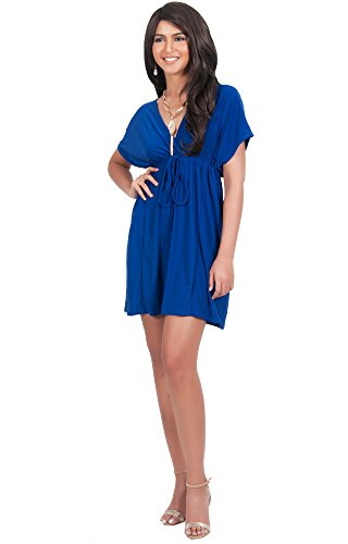(KOH KOH Plus Size Womens Caftan Kaftan V-Neck Beach Summer Kimono Short Sleeve Sexy Cover Up Cute Sundress Sundresses Sun Day Tunic Mini Dress Dresses, Cobalt/Royal Blue XL 14-16)