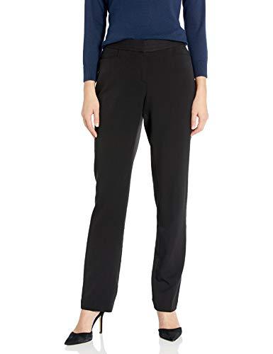 Rafaella Women's Curvy Fit Gabardine Slim Leg Pant, Black, 8