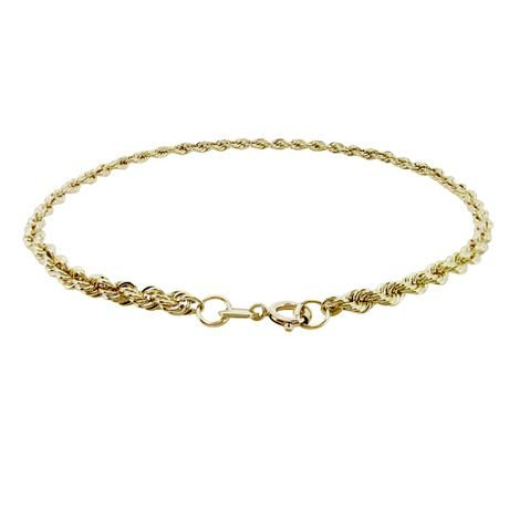 2.5MM HOLLOW ROPE CHAIN BRACELET IN 10KT YELLOW GOLD 1.05 GRAMS G3 CORP 10BR006