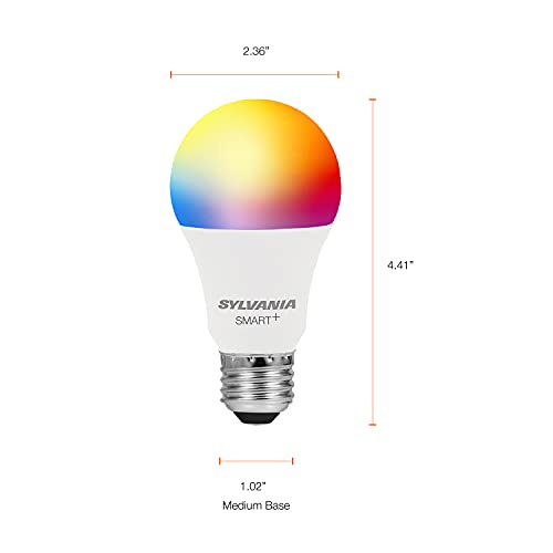 SYLVANIA Wifi LED Smart Light Bulb, 60W Equivalent Full Color and Tunable White A19, Dimmable, Works with Alexa and Google Home Only - 4 Pack (75674)