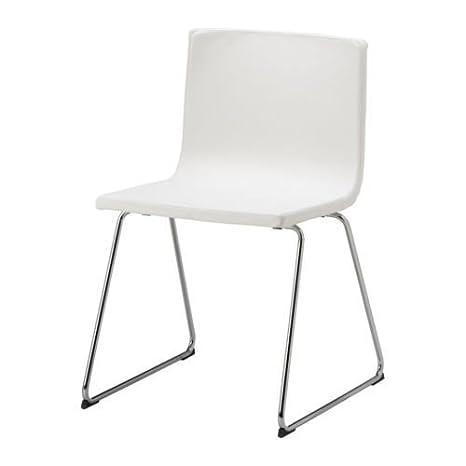 Sedie Metallo Pelle.Ikea Bernhard Sedia Metallo Cromato Pelle Bianco Amazon