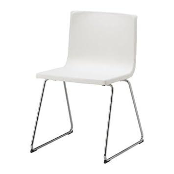 Stühle weiß leder  IKEA BERNHARD Stuhl, Chrom / Leder, WEIß: Amazon.de: Küche & Haushalt