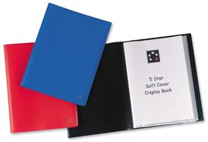 Book Softcover Display (5 Star Display Book Soft Cover Lightweight Polypropylene 20 Pockets A4 Blue)