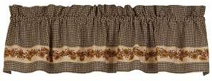 One Country Sunflower Window Valance Black Tan Check Curtain Autumn Fall Farmhouse Cottage