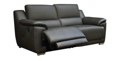 Canapé 3 places 2 relax électrique VOGG Cuir cro te cuir Gris