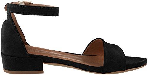 negras gamuza Bianco tobillo de Sandalias mujeres con negras para clásica de correa de 10 tqxWWPvwCX