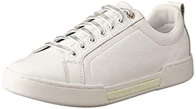 TOMMY HILFIGER Women's Iridescent Lace-Up Trainers 100% Leather, White, 36 EU