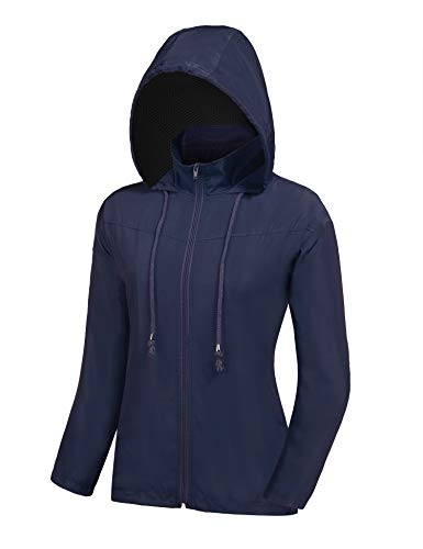 ZEGOLO Women's Raincoats Waterproof Windbreaker Lightweight Active Outdoor Hooded Rain Jacket for Hiking/Running/Camping Navy Blue -