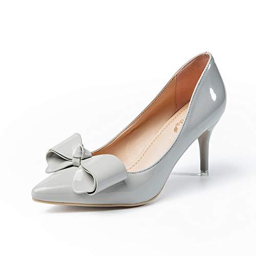 de Jqdyl Mujer Estrecha de tacón tacón de Boca Zapatos nuevos con bajo Arco Aguja Punta de Zapatos de wPpXp7n