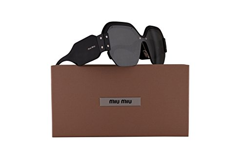 Miu Miu MU09SS Sunglasses Black w/Grey Mirror Lens 132mm 1AB4S1 SMU09S MU 09SS SMU - Miu Round Sunglasses Miu 49mm