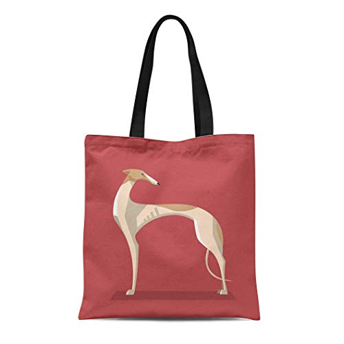 Semtomn Canvas Tote Bag Breed Greyhound Dog Minimalist on Red Racing Animal Black Durable Reusable Shopping Shoulder Grocery Bag