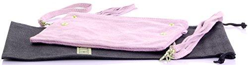 protecteur rangement à sac main ou bandoulière rose embrayage daim un de Pli nbsp;Comprend poignet Bébé sac fait cuir italien marque adzxnZq