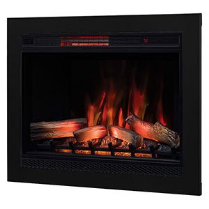 Classic Flame 33-in 3D SpectraFire Plus Infrared Electric Insert & Trim Kit - 33II042FGL & BBKIT-33 (Infrared Electric Flame Classic Fireplace)