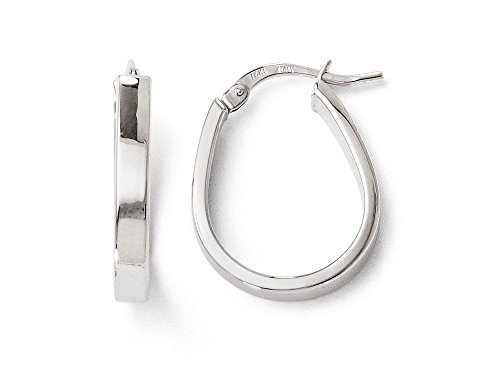 14k White Gold Polished Hoop (Finejewelers 14k White Gold Polished U-shape Hoop Earrings)