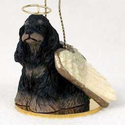 Cocker Spaniel Angel Dog Ornament - Black & Brown