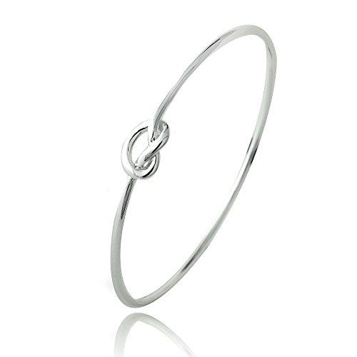 Hoops & Loops Sterling Silver Polished Love Knot Bangle Bracelet