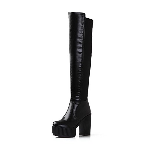 Black with Women's Boots Frosted High Heels and Chunky Non Sole PU Slipping Heels Allhqfashion OS4qY4