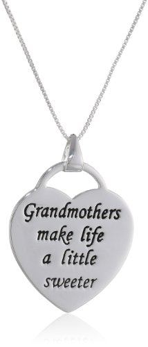 "Sterling Silver ""Grandmothers Make Life A Little Sweeter"" Heart Pendant Necklace, 18"""