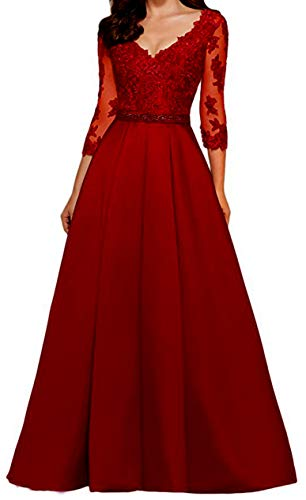 (yuanbaokj Ladies Beaded Formal Gowns Satin Evening Dresses Floor Length V Neck 3/4 Sleeves Long Dress Wine Red)