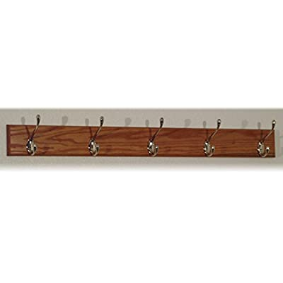 Wooden Mallet 36-Inch 5-Brass Hook Coat Rack, Medium Oak - All racks are fully assembled and complete with hardware for simple wall mounting Solid oak rack is available in three designer colors to coordinate with any decor, light oak, medium oak or mahogany Available wood finishes perfectly compliment Wooden Mallet's Dakota Wave reception seating collections - entryway-furniture-decor, entryway-laundry-room, coat-racks - 31VOvMri8HL. SS400  -