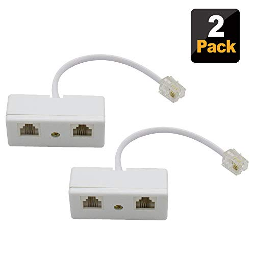 SHONCO 2PCS 2-Way RJ11 Telephone Plug to RJ11 Socket Adapter and Splitter for Landline Telephone