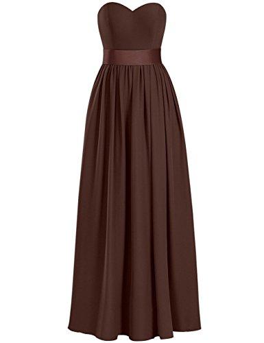 Longue Robes De Demoiselle D'honneur Robe De Bal Chérie En Mousseline De Soie Taille Plus Robes Soirée De Chocolat Fendus