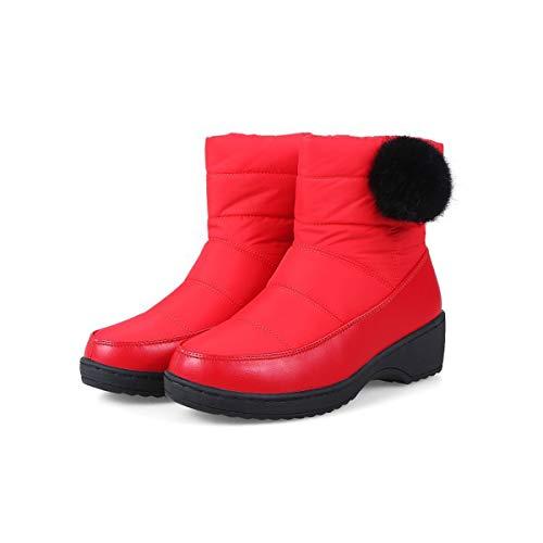 Fodera Velluto Stivali Moda Impermeabile Scarponi Solido Colore Scarpe Snow Lo Il Piatte Pelle 37eu Shopping Adong Inverno Donna Red Partito Per black Caldo In O 7q8Z5z