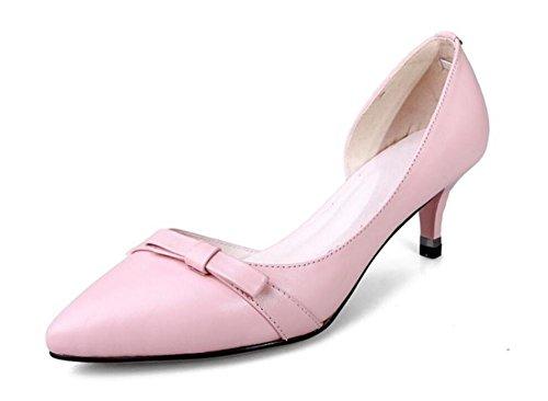 Chaussures de courte talons hauts chaussures pointues orteils avec bouche superficielle Bow Bowes de cuir printemps unique chaussures , pink , 38