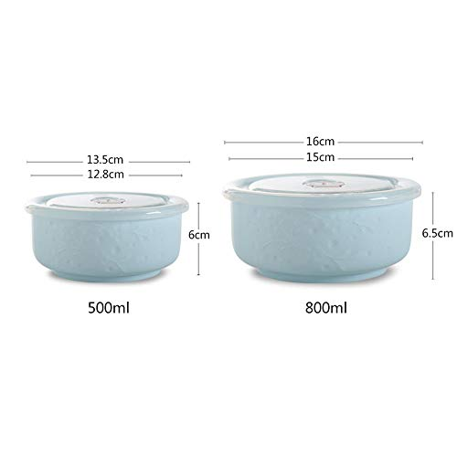 - lunch boxes,lunch box,lunch boxex,lunch boxx,box lunch box,lunch boxe,lunch boxs.Household refrigerator ceramic fresh bowl two-piece suit round microwave lunch box rice bowl sealed box, blue