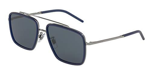 Dolce & Gabbana Men's 0DG2220 Sunglasses, Gunmetal/Matte Blue/Dark Grey, One Size (Blue Dolce Gabbana Men)