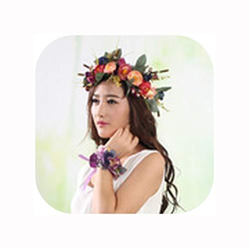Wreath Headband Flower Girl Crown Wedding Headpiece Headband Hair Wreath,Photo Color12,Standard