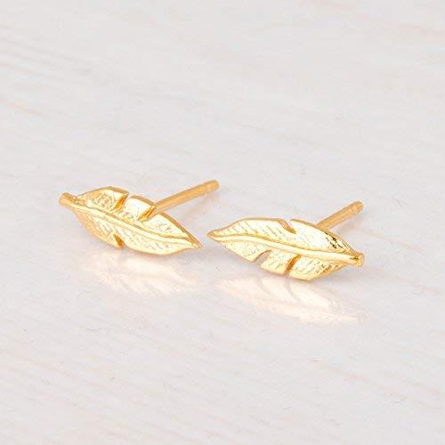 Gold Feather Stud Earrings - Designer Handmade Minimalist Feather Post Earrings - Gold Vermeil Leaf Earrings