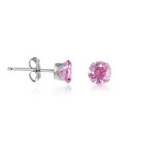 Campton Sterling Silver Stud Earrings Round - Pure Pink CZ~October Birthstone | Model ERRNGS - 14447 | 4mm - Medium ()